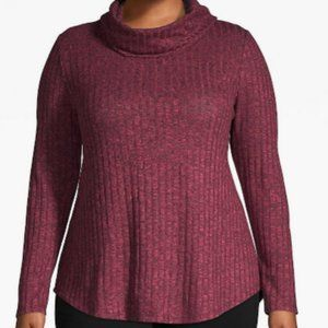 Plus Size Ribbed Cowlneck Top